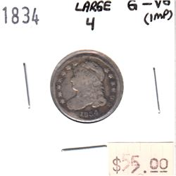 1834 Large 4 USA Dime G-VG (impaired)