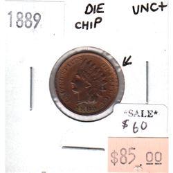 1889 USA Cent UNC + (MS-62) Die Chip
