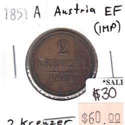 Austria 1851A 2 Kreuzer in Extra Fine (EF-40) Condition (impaired)
