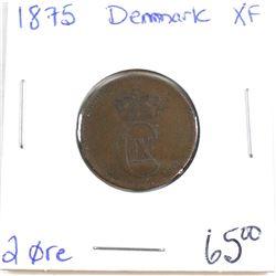 Denmark 1875 2 ore in XF Condition