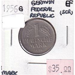 German Federal Republic 1956G 1 Mark Extra Fine (scratched)