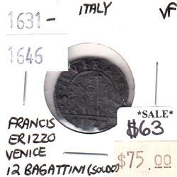 Italy 1631-1646 Venice 12 Bagattini Soldo Francis Erizzo Very Fine