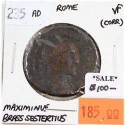 Rome 235 CE Brass Sestertius Maximinus Very Fine (corrosion)