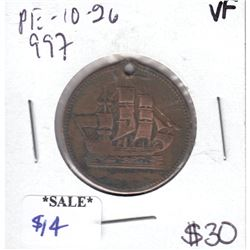 PE-10-26 Ships Colonies & Commerce Bank Token Breton # 997 Very Fine