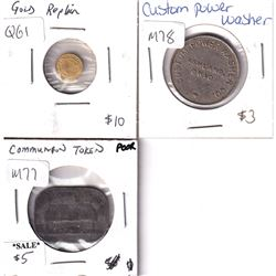 Estate Lot of Miscellaneous Tokens: Miniature Gold Replica 1844 Spain 80 Reales, Custom Power Washer