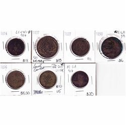 Group Lot of Various 1814-1856 Bank Tokens with 2 Undated Tokens. 7pcs