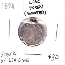 1894 Mounted Love Token Struck on USA Dime, Initials CCB