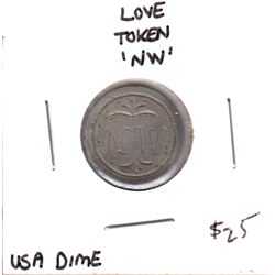 Love Token on USA Dime - initials NW