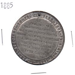 1885 Anniversary Welsh Sunday School Pewter Medal (holed). Diameter 44 mm