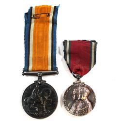 1914-1918 Silver British War Medal & 1910-1935 United Kingdom King George V and Queen Mary Silver Ju