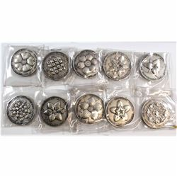 Lot of 10x 1867-1967 Canada Centenary Pewter Tokens of all the Canadian Provinces and the Date of Th
