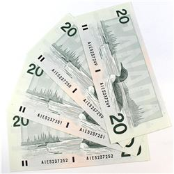 Lot of 4x 1991 $20.00 Notes with Thiessen-Crow Signature and Consecutive Serial Numbers - AIE5237249