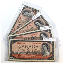 5 x 1954 Devil's Face $2.00 Notes with Coyne-Towers Signatures in VF condition. All Notes have impai