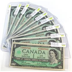 9x 1967 Bank of Canada $1 Notes all with a Different Prefix Letter. Notes contain various imperfecti
