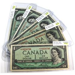 5x 1954 Bank of Canada $1 Replacement Notes all with Different Prefix Letters (some notes impaired).