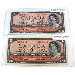 Pair of 1954 $2 Bank of Canada Devil's Face Note Prefix E/B & B/B VF (impaired). 2pcs