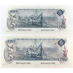 Pair of 1979 $5 Bank of Canada Crow-Bouey Consecutive Notes. 2pcs