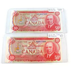 Pair of 1975 $50 Lawson-Bouey HA & Crow-Bouey EHL Notes (stains/stamped). 2pcs