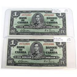 Pair of 1937 $1 Canada BC-21c Gordon-Towers Banknotes with Consecutive S/N: G/M0711866-67 in UNC Con