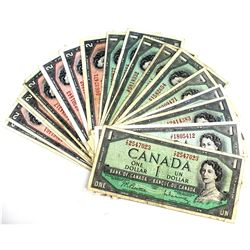 Group Lot of 20x 1954 Canada Modified Portrait $1 & $2 Banknotes with all Different Prefixes. You wi