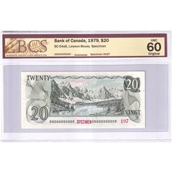 1979 $20 BC-54aS, Bank of Canada, Lawson-Bouey, Specimen #197, BCS Certified UNC-60 Original