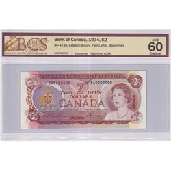1974 $2 BC-47aS, Bank of Canada, Lawson-Bouey, Two Letter, Specimen #234, BCS Certified UNC-60 Origi