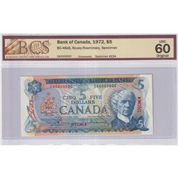 1972 $5 BC-48aS, Bank of Canada, Bouey-Rasminsky, Specimen #234, BCS Certified UNC-60 Original