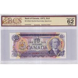 1971 $10 BC-49aS, Bank of Canada, Beattie-Rasminsky, Specimen #234, BCS Certified CUNC-62 Original