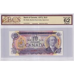 1971 $10 BC-49aS, Bank of Canada, Beattie-Rasminsky, Specimen #234, BCS Certified CUNC-62 Original