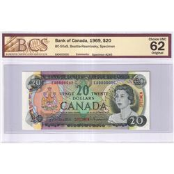 1969 $20 BC-50aS, Bank of Canada, Beattie-Rasminsky, Specimen #245, BCS Certified CUNC-62 Original