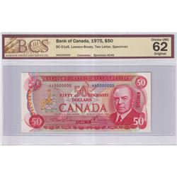 1975 $50 BC-51aS, Bank of Canada, Lawson-Bouey, Two Letter, Specimen #245, BCS Certified CUNC-62 Ori