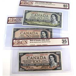 Lot of 3x 1954 Bank of Canada Modified Portrait BCS Certified Notes: BC-41b $20 Beattie-Rasminsky Z/