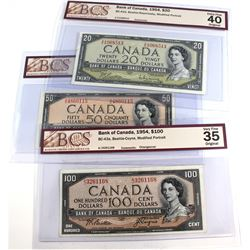 Lot of 3x 1954 Bank of Canada Modified Portrait BCS Certified Notes: BC-41b $20 Beattie-Rasminsky Z/