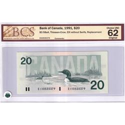 1991 $20 BC-58aA, Bank of Canada, Thiessen-Crow, EIX Without Serifs, Replacement, BCS Certified CUNC