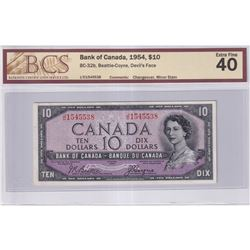 1954 $10 BC-32b, Bank of Canada, Beattie-Coyne, Devil's Face, J/D Prefix, Changeover, BCS Certified