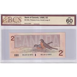 1986 $2 BC-55b, Bank of Canada, Thiessen-Crow, Small/Large B, BGJ Prefix, BCS Certified UNC-60 Origi