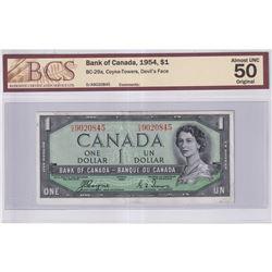 1954 $1 BC-29a, Bank of Canada, Coyne-Towers, Devil's Face, D/A Prefix, BCS Certified AU-50 Original