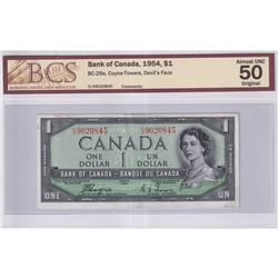 1954 $1 BC-29a, Bank of Canada, Coyne-Towers, Devil's Face, D/A Prefix, BCS Certified AU-50 Original