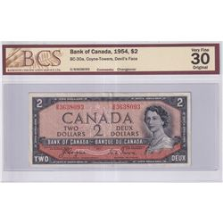 1954 $2 BC-30a, Bank of Canada, Coyne-Towers, Devil's Face, D/B Prefix, Changeover, BCS Certified VF