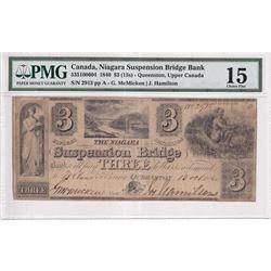 1840 $3 (15s) 535-10-06-04 , Niagara Suspension Bridge Bank, S/N 2913, McMicken-Hamilton, PMG Certif