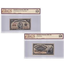 Pair of Dominion of Canada 25c Shinplaster Notes BCS Certified: 1900 DC-15b, Boville, BCS F-18 & 192