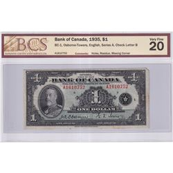 1935 $1 BC-1, Bank of Canada, Osborne-Towers, English, Series A, Check Letter B, BCS Certified VF-20
