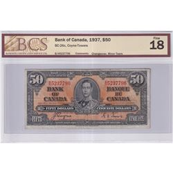 1937 $50 BC-26c, Bank of Canada, Coyne-Towers, B/H Prefix, Changeover, BCS Certified F-18 (Minor Tea