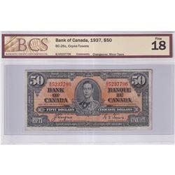 1937 $50 BC-26c, Bank of Canada, Coyne-Towers, B/H Prefix, Changeover, BCS Certified F-18 (Minor Tea