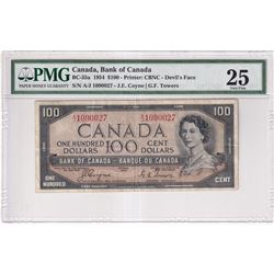 1954 $100 BC-35a, Bank of Canada, Coyne-Towers, A/J Prefix, Devil's Face, PMG Certified VF-25