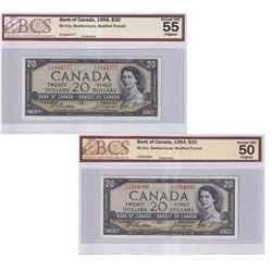 Pair of 1954 $20 BC-41a, Beattie-Coyne, Modified Portrait BCS Certified - Prefix F/E, AU-55 Original