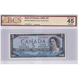 1954 $5 BC-31b, Bank of Canada, Beattie-Coyne, Devil's Face, D/C Prefix, BCS Certified EF-45 Origina