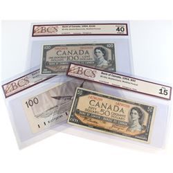 Lot of 3x Bank of Canada $50 and $100 Changeover Notes BCS Certified: 1954 $50 BC-42a, Beattie-Coyne