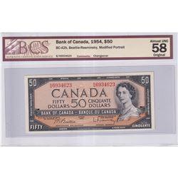 1954 $50 BC-42b, Bank of Canada, Beattie-Rasminsky, Modified Portrait, B/H Prefix, Changeover, BCS C