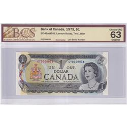 1973 $1 BC-46a-N5-iii, Bank of Canada, Lawson-Bouey, Two Letter, Low Serial Number GY0000036, BCS Ce